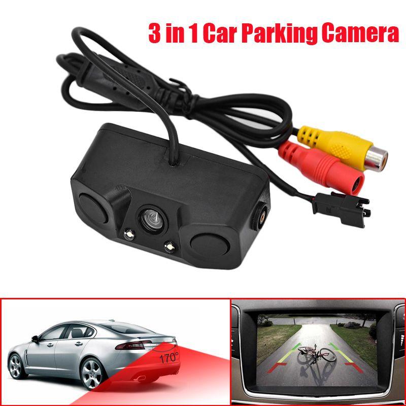 Universal 3 em 1 Estacionamento Estacionamento Vista traseira Câmera de carro com 2 indicador Buzzer Sensor Radar Alarme Car Estacionamento Assistência