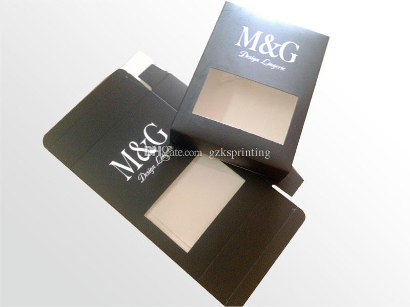 Packaging boxes with PVC window for clothes/garment/apparel/underwear Customized printing Paper Boxes with hooker hanging Matte 300~450gr