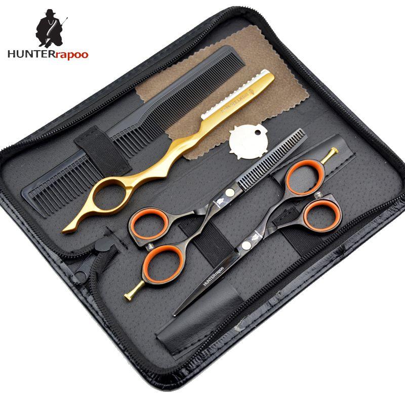 "5.5"" inch haircut scissors kit salon tools Japanese stainless black hair scissor set razor hairdressing tools"