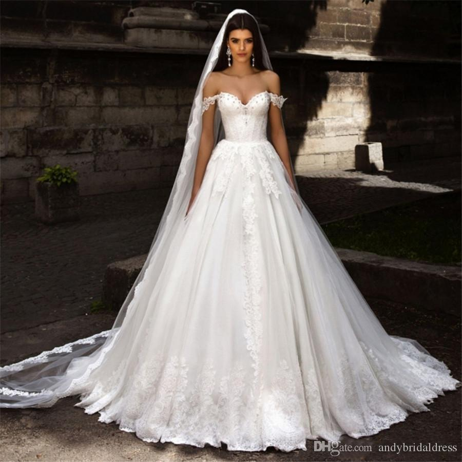 Discount Sexy Boned Princess A Line Off Shoulder Wedding Gown Bridal  Dresses Sweetheart Vintage Lace Applique Bridal Gown Robe De Mariage Slim A  Line ...