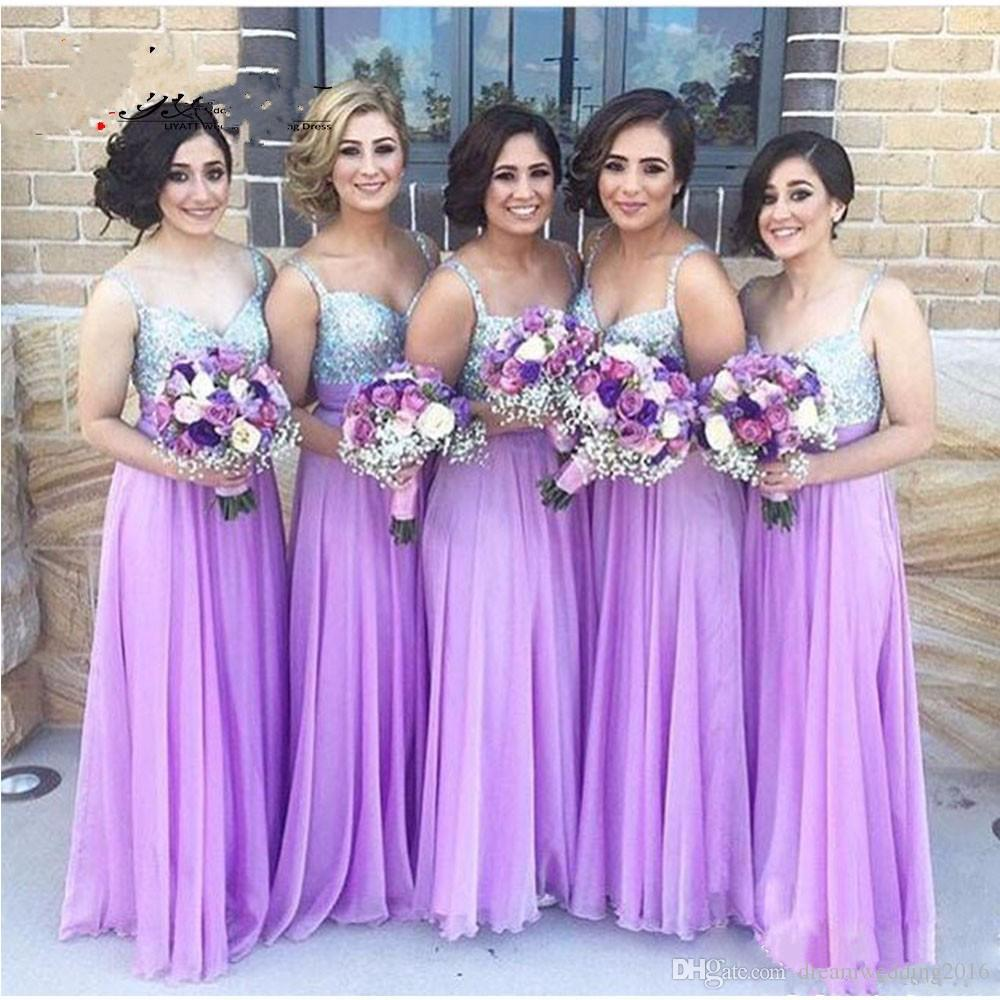 Sparkly v neckline spaghetti straps with purple lavender sparkly v neckline spaghetti straps with purple lavender bridesmaid dresses 2017 for wedding guests gowns ombrellifo Image collections