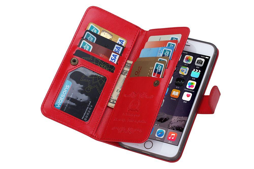 2in1 magnetische afneembare 9 kaart portemonnee lederen tas voor iphone 5 5 s se 6 6s iphone 7 galaxy s4 s5 s6 s6 edge s7 60pcs / lot
