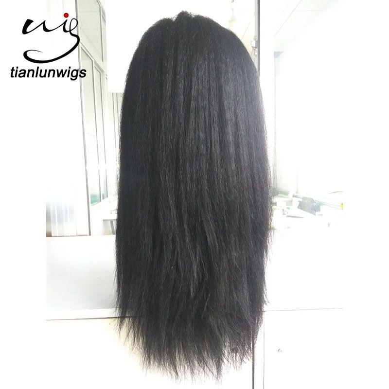 en stock! Non transformés Yaki Straight Lace Front Wigs Full Lace perruque de cheveux humains vierge cheveux brésiliens avec des cheveux de bébé