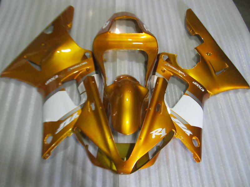 Hot sale fairing kit for Yamaha YZF R1 2000 2001 gold white fairings set YZFR1 00 01 RT60