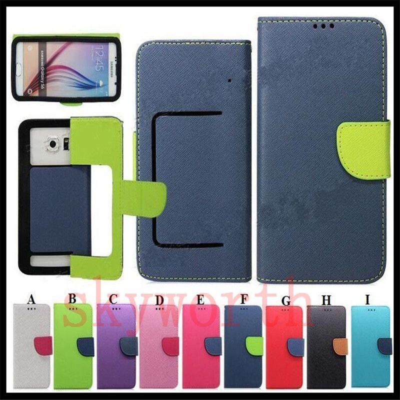 Universal Wallet PU Housse en cuir Flip Couverture de carte de crédit pour téléphone portable de 3,5 à 5,7 pouces Téléphone portable