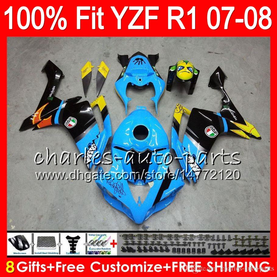 8ギフト23Color注入ヤマハYZF1000 YZFR1 07 08 YZF 1000 37 HM18落書きブルーYZF-R1 07-08 YZF-1000 YZF R 1 YZF R1 2007 2008フェアリング