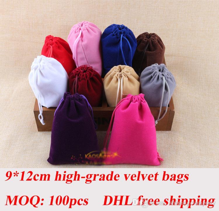DHL Frvet Bagee Shipping 100pcs Velvet Fidget Spinner Drawstrings Bolsas de embalaje 9 * 12 cm Bolsas de joyería Collar Pulsera Pendiente Bolsas de regalo