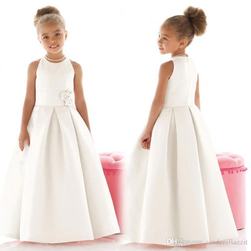 2020 Fashion Bianco Elegante Flower Girl Abiti Prima Comunione Abiti da Comunione per Girls Ruched Floor Lunghezza Abito Dress Vestido de Daminha