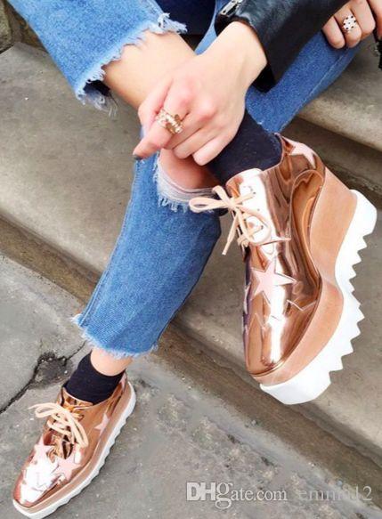 vendita all'ingrosso scarpe Lady plartform, scarpe a punta quadrata con zeppa in vera pelle 28color, scarpe con stella crescente di altezza vendita calda beige 35-42