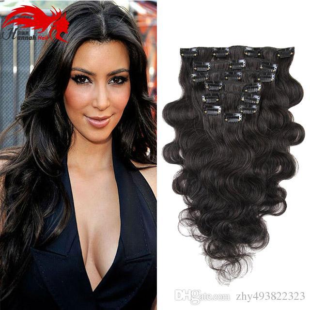 Ханна продукт 7 шт./Комплект клип в человеческих волос расширений тела волна естественный цвет 70 г Реми волосы 10-26 дюймов