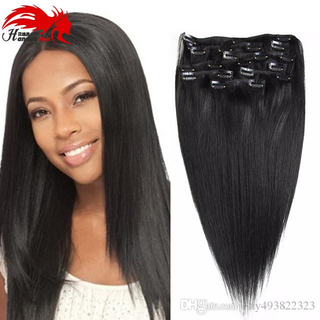 Ханна Реми бразильский прямой клип в человеческих волос расширения 70 г 100 г 120 г 200 г человеческих волос клип в человеческих волос расширений