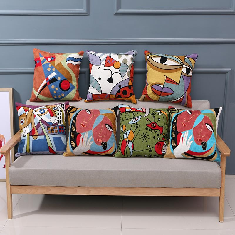 Strange Pillowcases Wholesale Personalized Fashion Picasso Style Pillow Wool Full Of Embroidered Sofa Cushions Set Home Creative Pattern Pillow Case Patio Dailytribune Chair Design For Home Dailytribuneorg