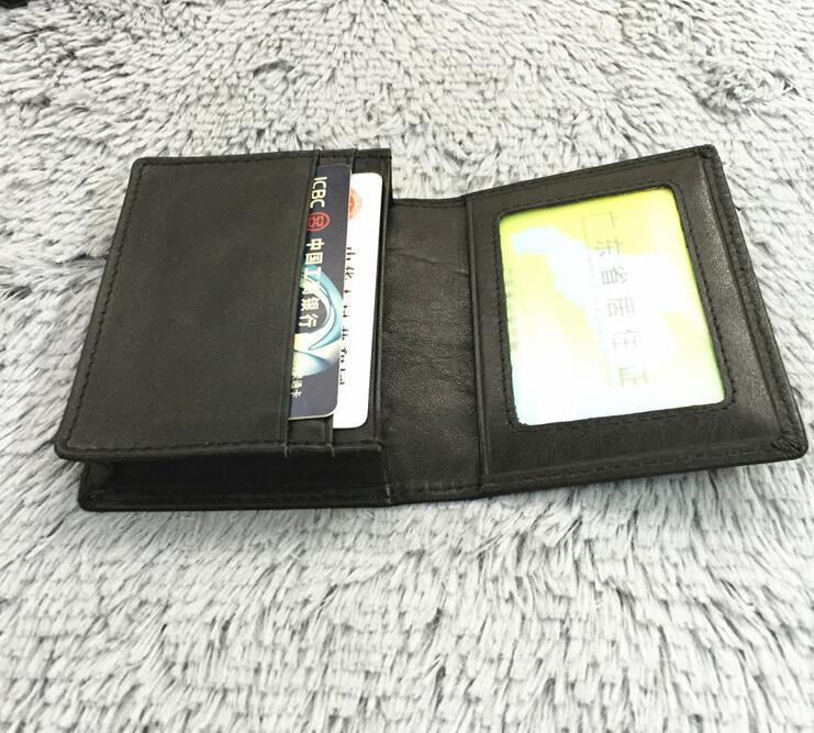 Первый слой кожи молотый кофе цвет имя карты клип набор мягкий кожаный кошелек реального пикап мешок