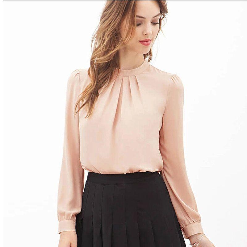 Blusas feminina Kadınlar Zarif Şifon Bluzlar Seksi artı boyutu gömlek üstleri Rahat Uzun Kollu Gömlek Bayanlar Çalışma Ofisi Gömlek