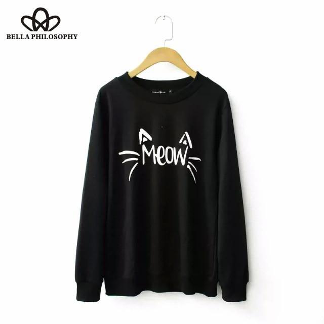 Kadın Hoodies Tişörtü Toptan-2021 Sonbahar Kış Artı Boyutu Kedi Toptan Mektuplar Baskılı Uzun Kollu Kadın Sweatershirt Hoody S-X
