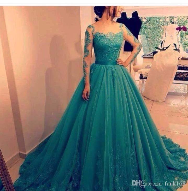 Compre Vestido De Baile Personalizado Azul Turquesa Vestido Largo 2017 De Manga Larga Apliques De Encaje Elegante Arabia Saudita Vestidos De Fiesta