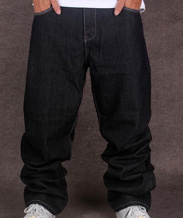 All'ingrosso-Nero Jeans larghi Uomini Hip Hop Streetwear Skateboarder pantaloni denim Loose Fit Plus Size Hiphop Size 42 Taglia 44 Spedizione gratuita