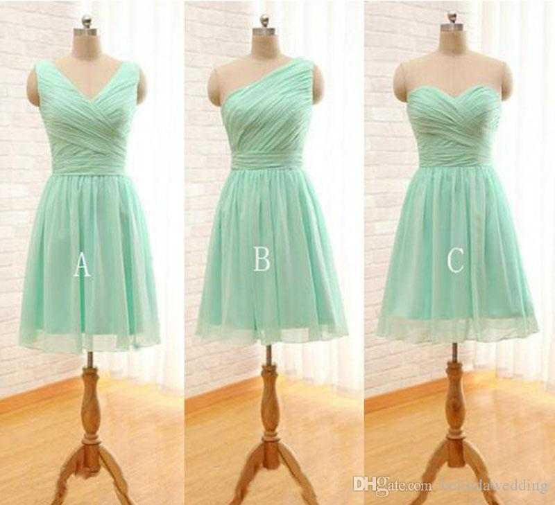 Bridesmaid Dresses Under 50 Pleated Short Chiffon Bridesmaid Dress Mint  Green Knee Length Wedding Party Dress Plus Size Plus Size Bridesmaid  Dresses ...