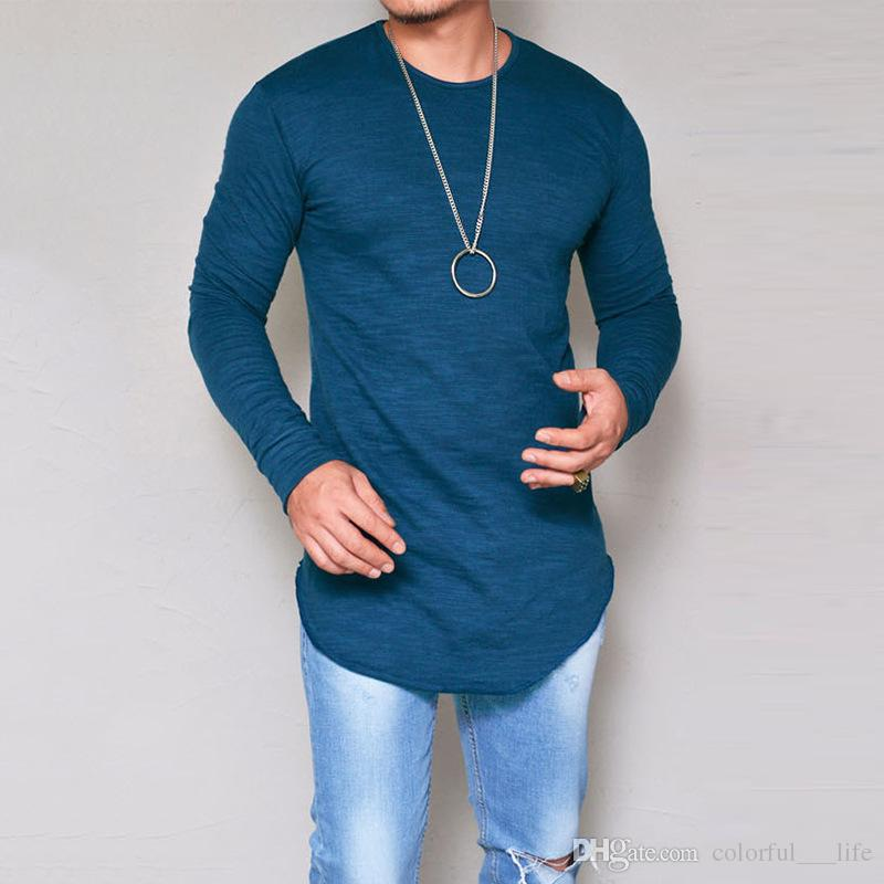 Men New Tee Shirt Slim Fit O Neck Long Sleeve Muscle Cotton Casual Tops Blouse