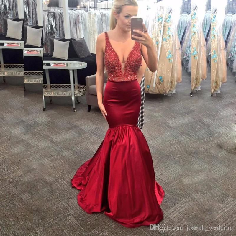 New Fashion Burgundy Satin V-Neck Beaded Mermaid Prom Dresses Long Formal Evening Gowns Dress Robe de soiree Abendkleid 2017