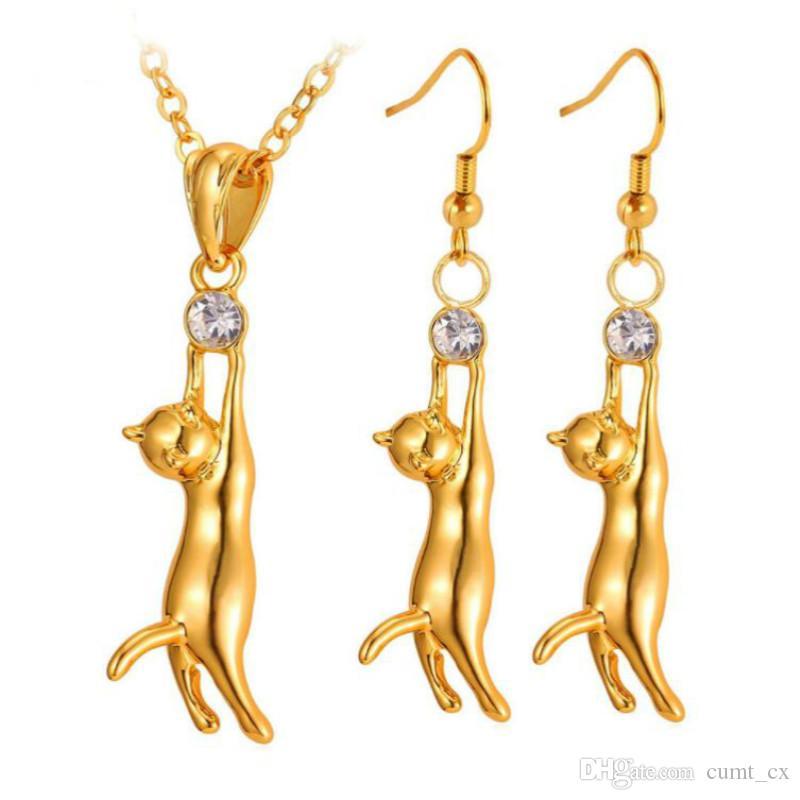 Precioso lindo gato colgante collar pendientes Set regalo para mujer regalo Rhinestone plata / oro color joyería moda conjuntos