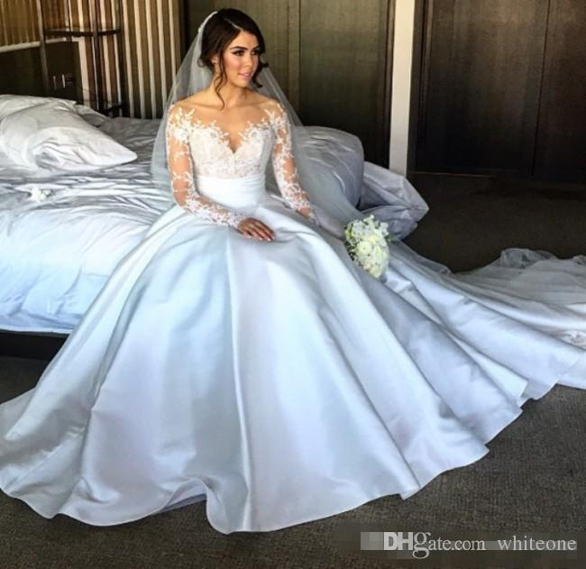 2017 new split lace steven khalil wedding dresses with detachable skirt sheer neck long sleeves sheath