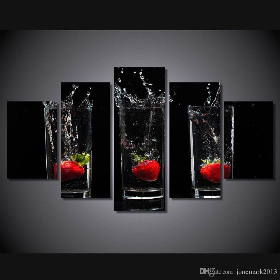 5 Pcs/Set Framed HD Printed Strawberry cup Painting on canvas room decoration print poster picture canvas Free shipping/ny-2014