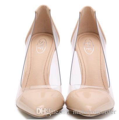 큰 판매 누드 컬러 새로운 유럽과 미국의 여름 투명 뾰족한 하이힐 섹시한 결혼식 신발 (374)
