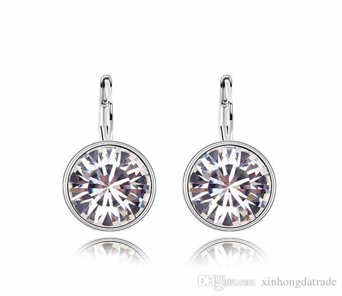 Round Sales Fashion Genuine Platinum Women Hot Cute Hoop Earrings Plated Austrian Crystal 18K Earrings Jewelry Women For Wholesale Skmel