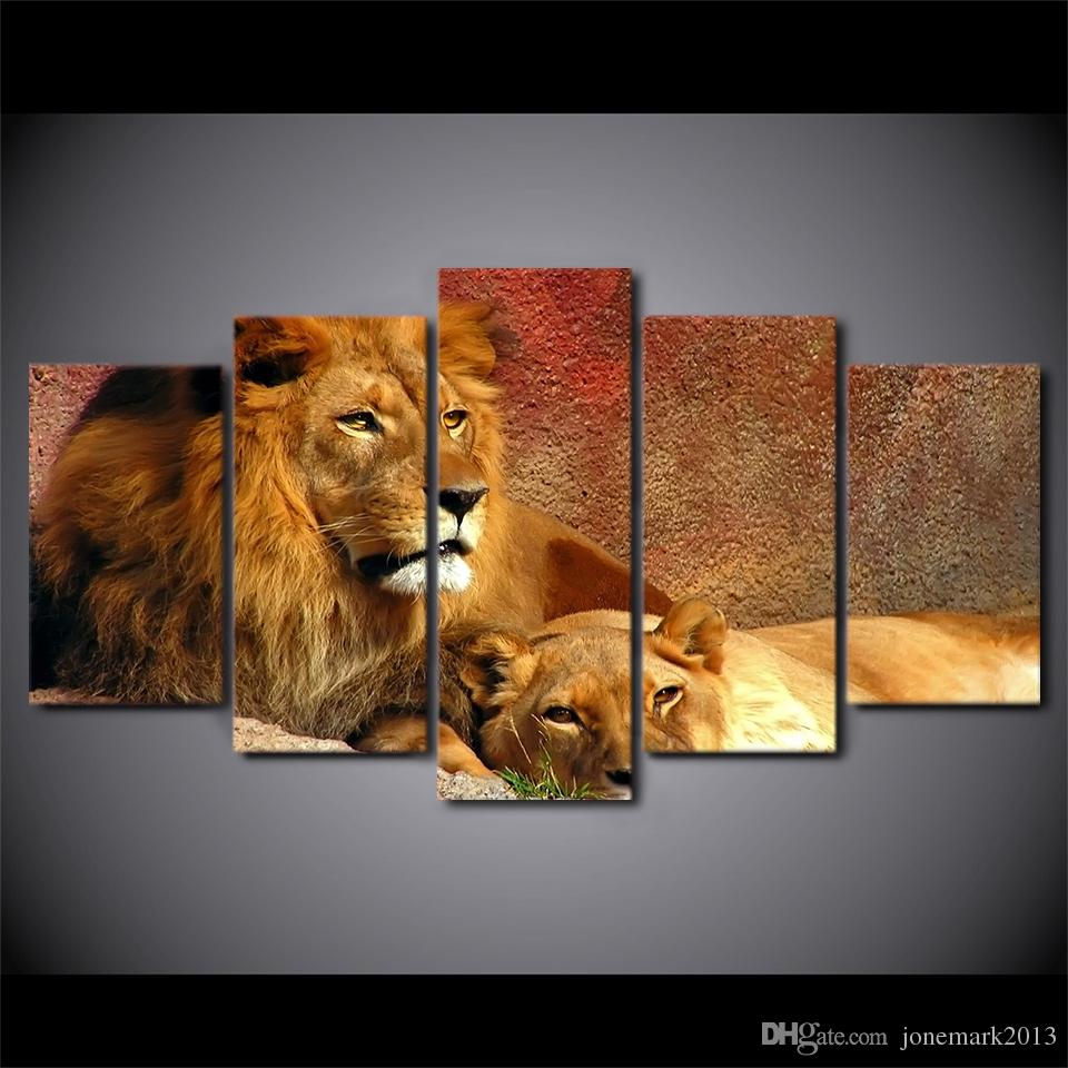 5 Pcs/Set Framed HD Printed Animals Lion Group Painting Canvas Print room decor print poster picture canvas Free shipping/H075