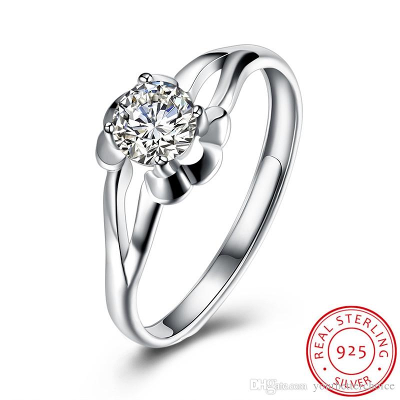 Classical Lady's Adjustable Open 925 Sterling Silver Prong Setting Sparkling Clear CZ Solitaire Ring Free Shipping