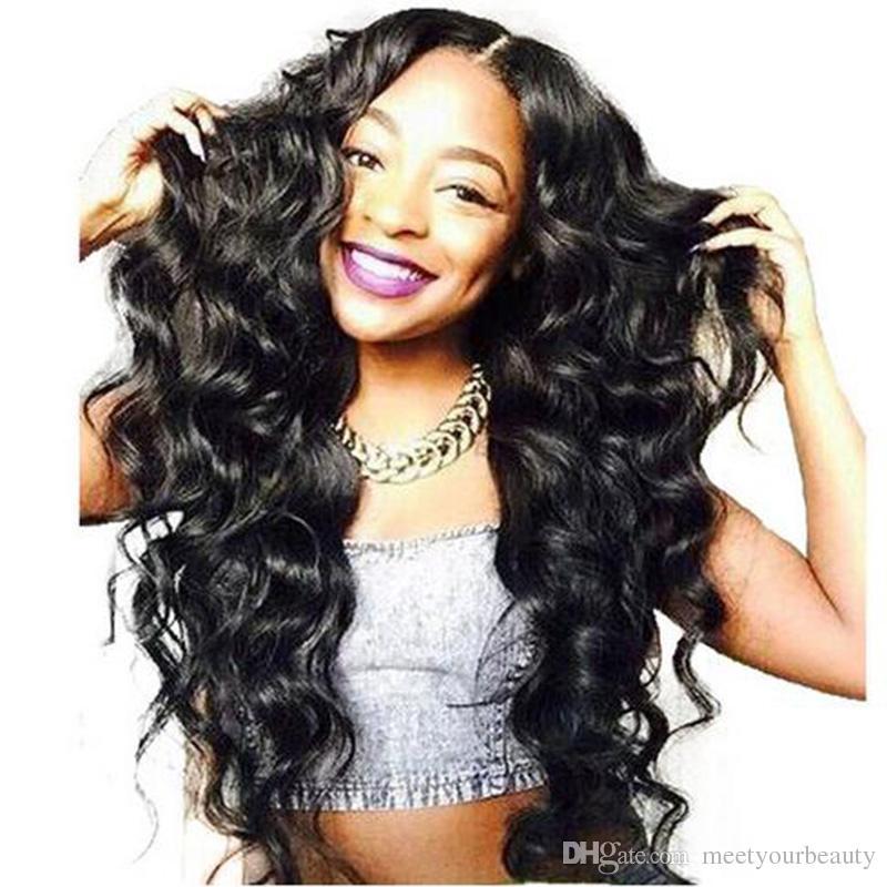 Symulacja ludzki włosy peruka luźna fala czarna peruka moda styl włosy w dużej akcji bezpłatna wysyłka