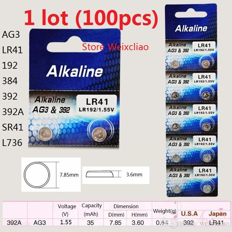 100 قطع 1 وحدة AG3 LR41 192 384 392 392A SR41 L736 1.55 فولت بطاريات زر خلية البطارية القلوية عملة شحن مجاني