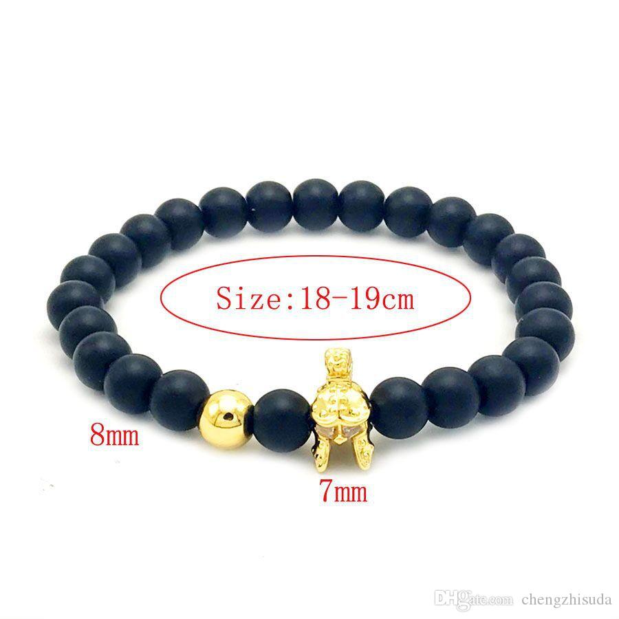 Black Matte Beaded Bracelet For Women Men Bangle Male Stone Jewelry  Pulseras Mujer Helm Of Old