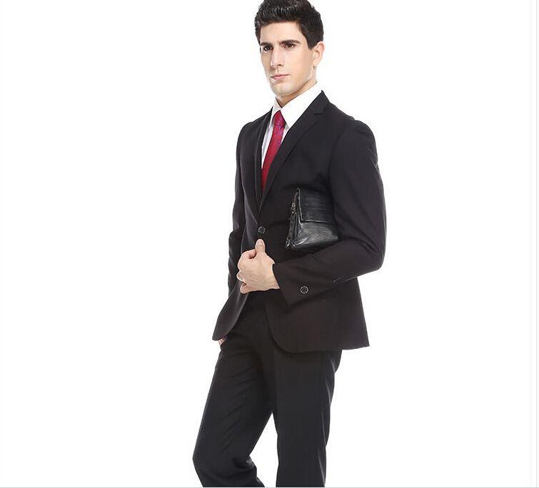 Son erkekler klasik erkekler düğün smokin takım elbise siyah yaka tek göğüslü sağdıç resmi takım elbise (ceket + pantolon)