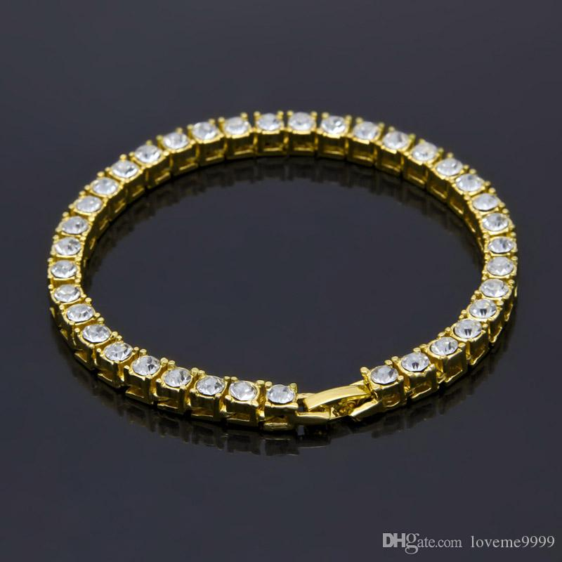 Хип-хоп Bling 1 однорядные ясно стразами Фараон браслеты женщины мужчины золото имитация камень 8