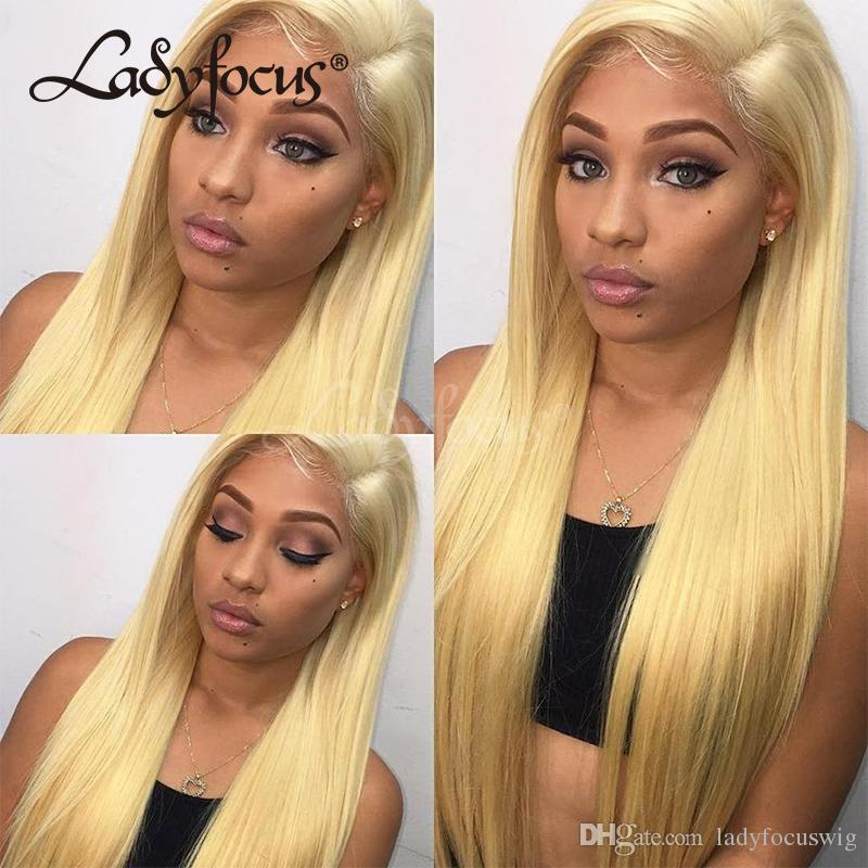 Blonde Full Lace Human Hair Wigs Straight