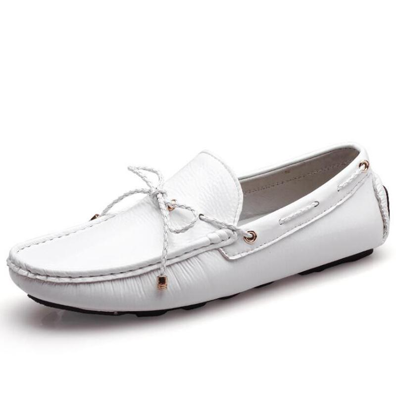 New Brand Summer Casual High Quality Men's Genuine Leather Slip-on Loafers Driving Shoes Fahion Boat Shoe Mens Handmade Moccasins