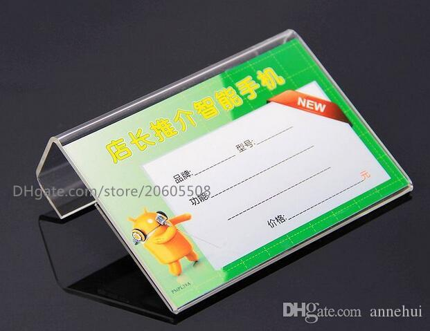 Freies verschiffen Acryl L Form Tabelle Zeichen Preisschild Label Ausstellungsstand Papier Förderung name Karte schreibtisch rahmen label display halter 10 stücke