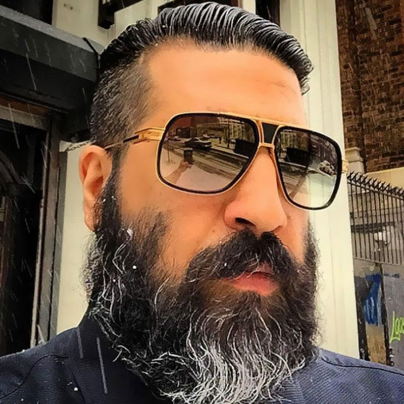 Coodaysuft Big Size Brand Designer Oversized Men Sunglasses Women Flat Top Sun Glasses Square 18 K Gold Male Oculos De Sol Circle Sunglasses Glass