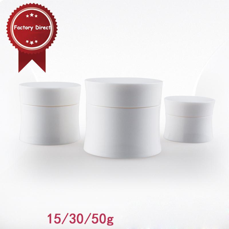 10шт/лот 15г 30г 50г пластик белый пустой внимательности кожи Cream Опарникы для Косметик образец контейнеры с крышками PJ30/5