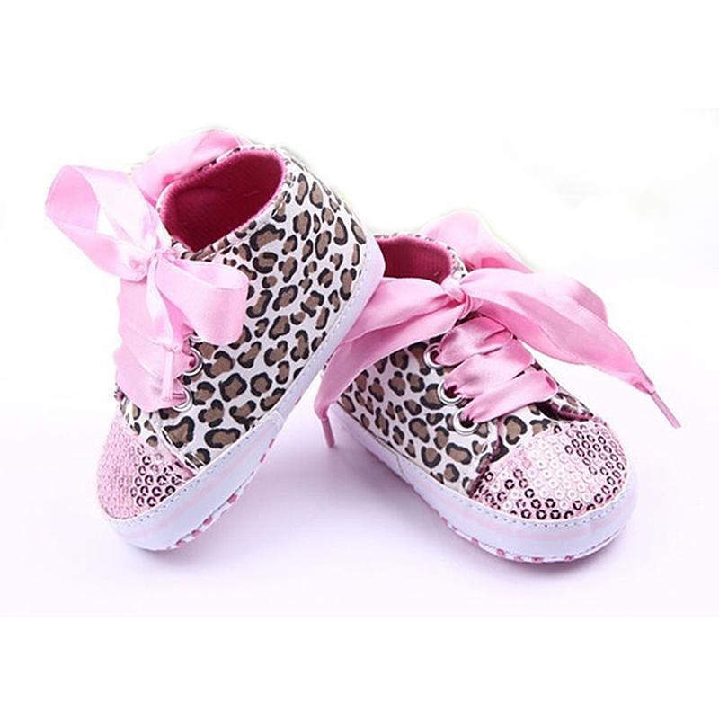 Al por mayor- Nuevo Niño Infantil Leopardo Lentejuelas Zapatillas de Bebé niñas Soft Sole Cuna Zapatos 3-12 Meses 11/12 / 13cm