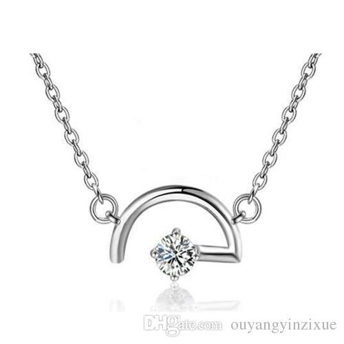 Forme a moda el oro blanco 18K plateó el regalo pendiente del collar de la amatista de la plata esterlina 925 (color: blanco, púrpura) cadena de 19.68 pulgadas