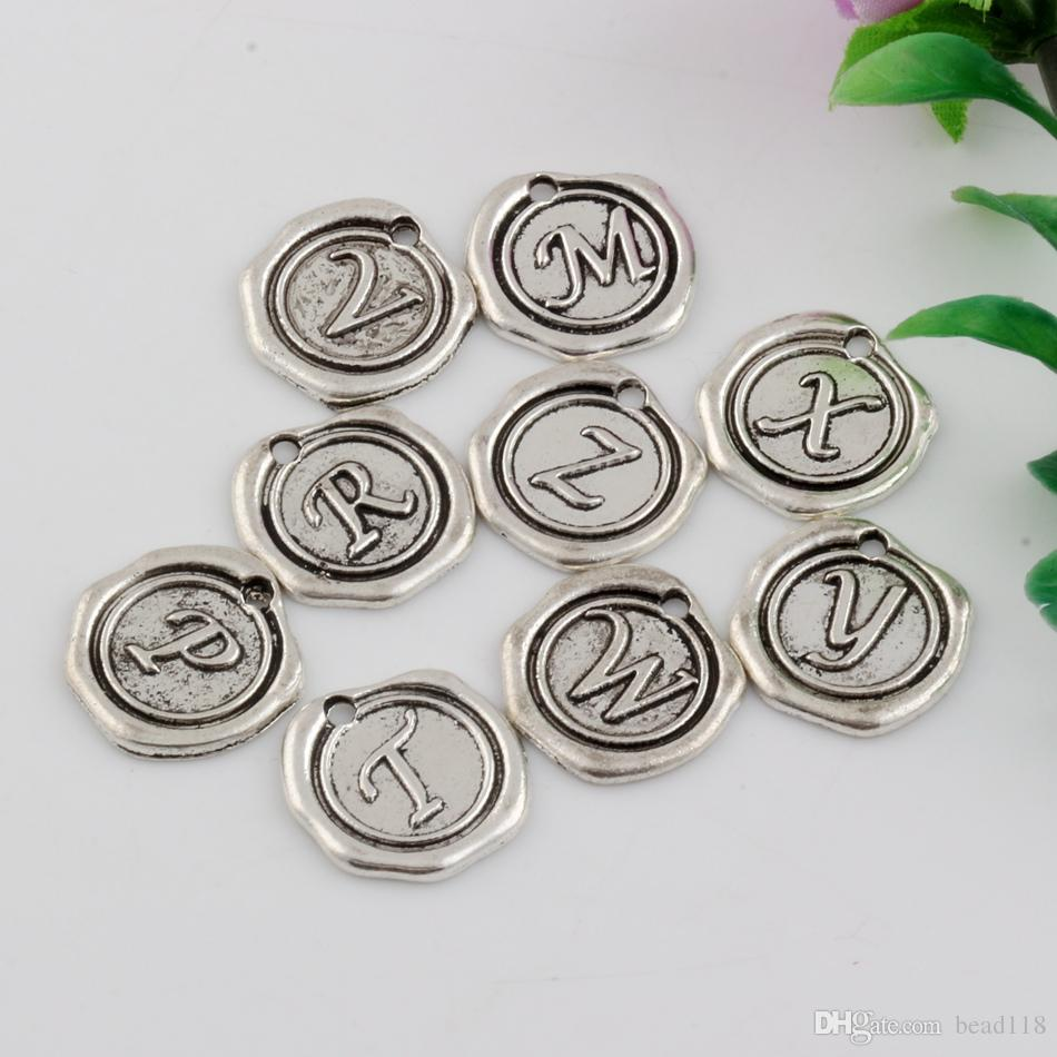 Hot Sales ! 150pcs Antique Silver Zinc Alloy Single-sided mixed Alphabet Initial Charm Pendants 18x 18.5mm DIY Jewelry