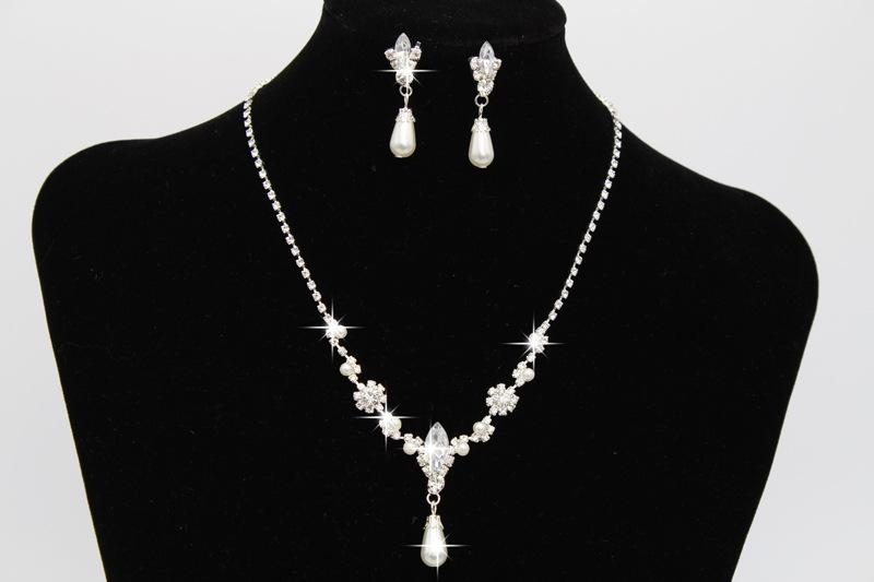 Rhinestone Pearl Bridal Jewelry Set Statement Crystal Earrings Necklaces Pearl Sets Bridesmaids Lady Women Prom Party Fashion Jewelry Set