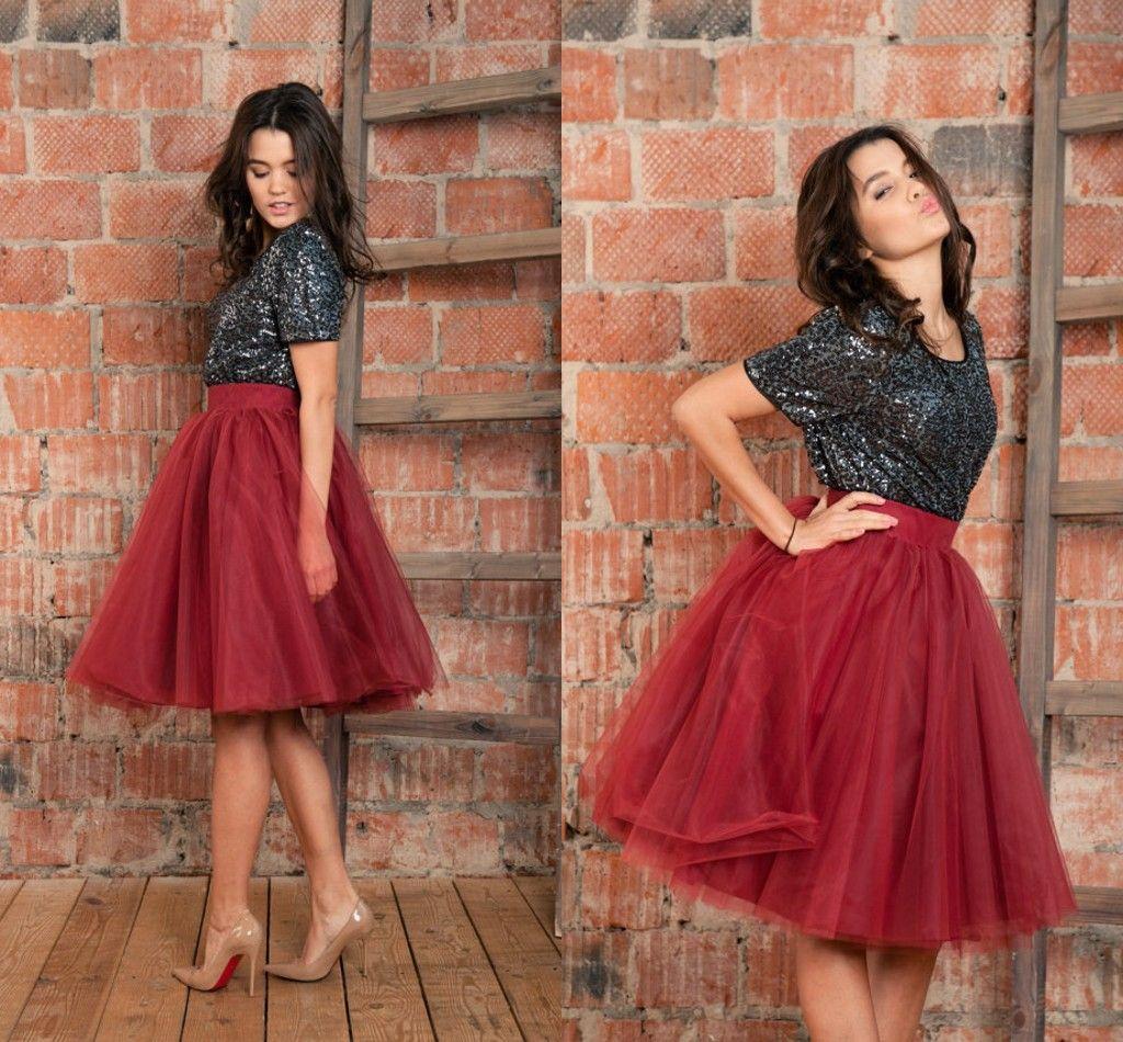 Borgonha Tutu Vermelho Saias de Tule Para As Mulheres de Cintura Alta Completa Alinhado Na Altura Do Joelho Vestidos de Baile Saias Do Partido Poofy Meninas Saias de Baile