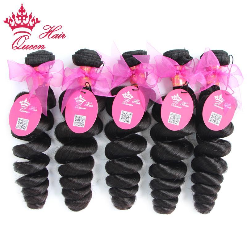 Koningin Haarproducten Gemengde Lengte 5 stks / partij Maagdelijke Braziliaanse Hair Extensions Losse Golf Meer Weefsels Machine Inslag Snelle Verzending 8 -28 Natuurlijke Kleur
