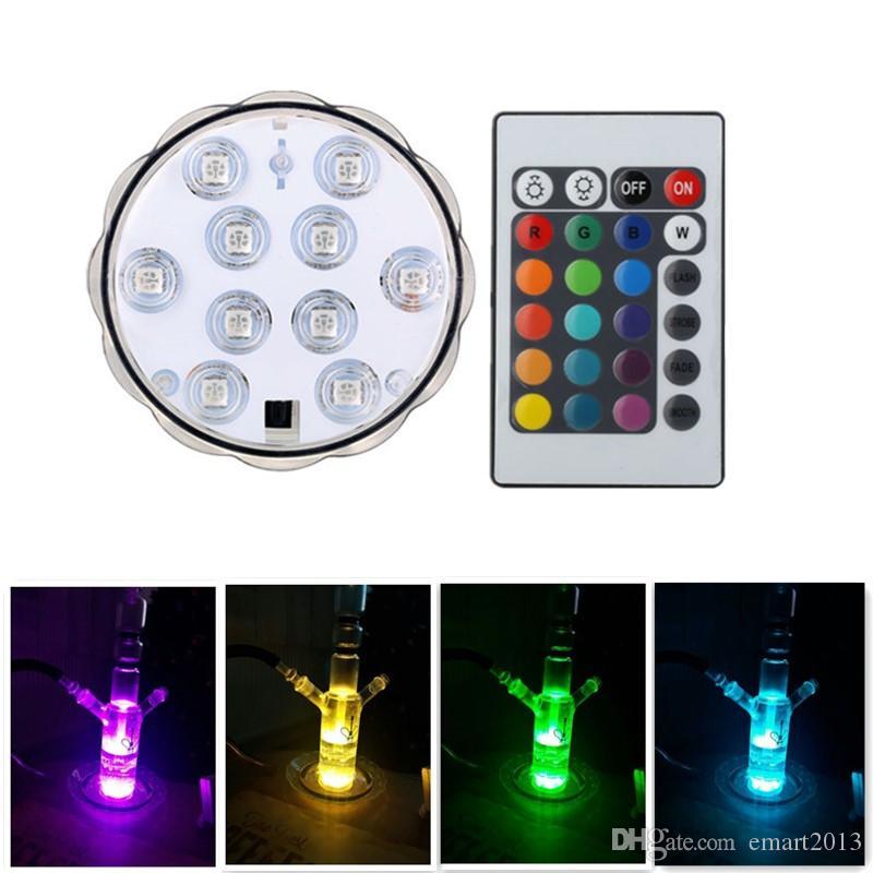 Nieuwe Hookah Shisha Lights Dompelposible LED-lamp Onderwater Waterdicht Pool Licht voor Bruiloft Decoratie Batterij Operated Lampen