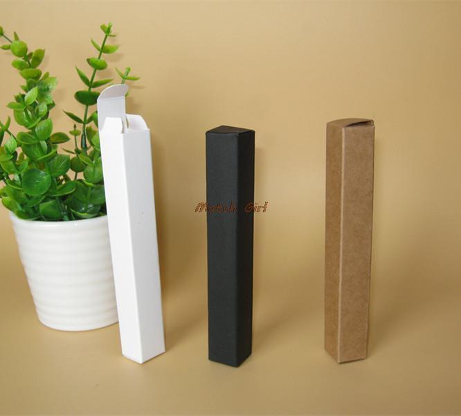 100 pçs / lote-1.7 * 1.7 * 12.4 cm Mini Tamanho Preto Branco kraft Caixa De Papel Para O Batom Perfume Tubos de válvula de Armazenamento De Garrafas De Óleo Essencial
