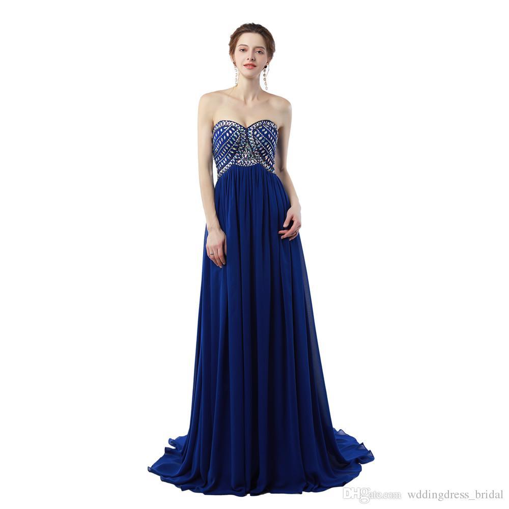 Großhandel Königsblau Abendkleid Vestidos Longos Para Formatura 12 Schatz  Günstige Lange Chiffon Prom Kleider Mit Kristallen Von Wddingdress_bridal,